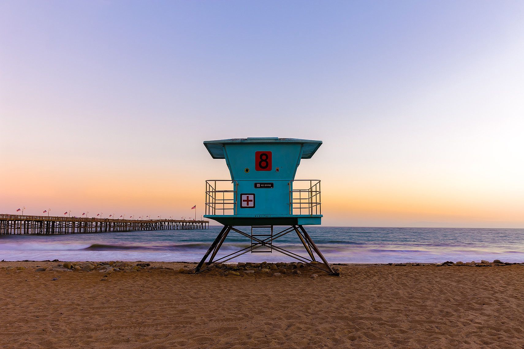 Ventura, California, USA - lifeguard station, beach