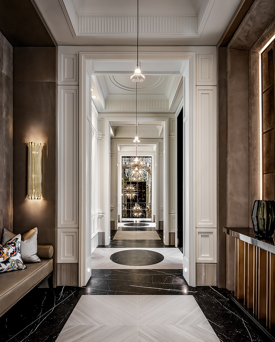 Luxury residential hallway designed by Ferris Rafauli