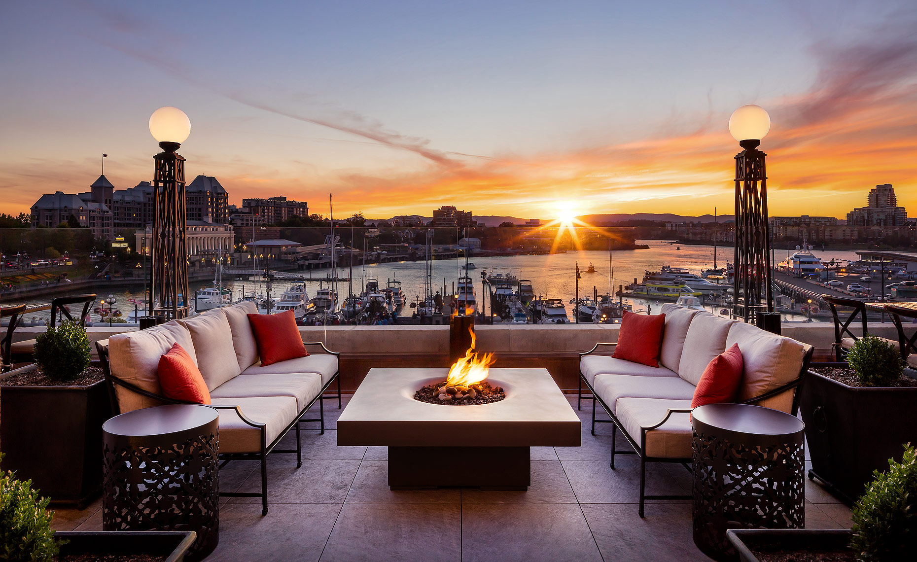 Fairmont Empress Hotel Victoria, BC - Gold Lounge Terrace sunset