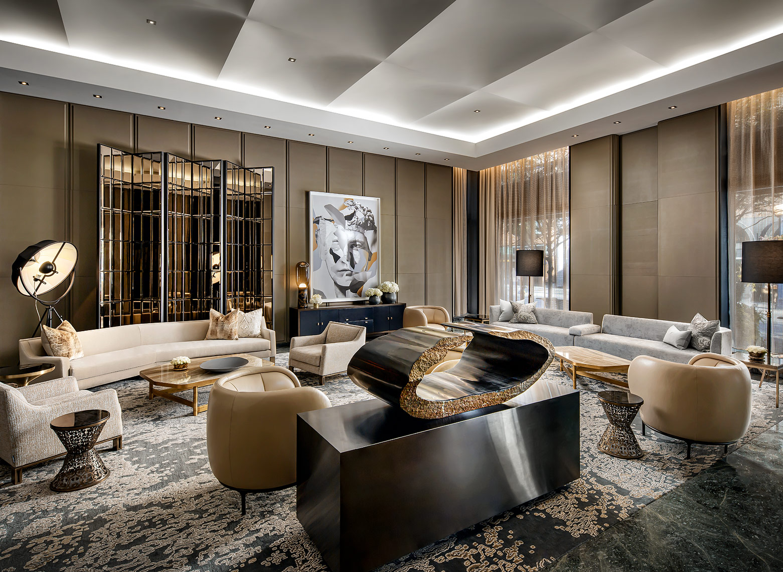 The Hazelton Hotel, Toronto, lobby. Design by Yabu Pushelberg