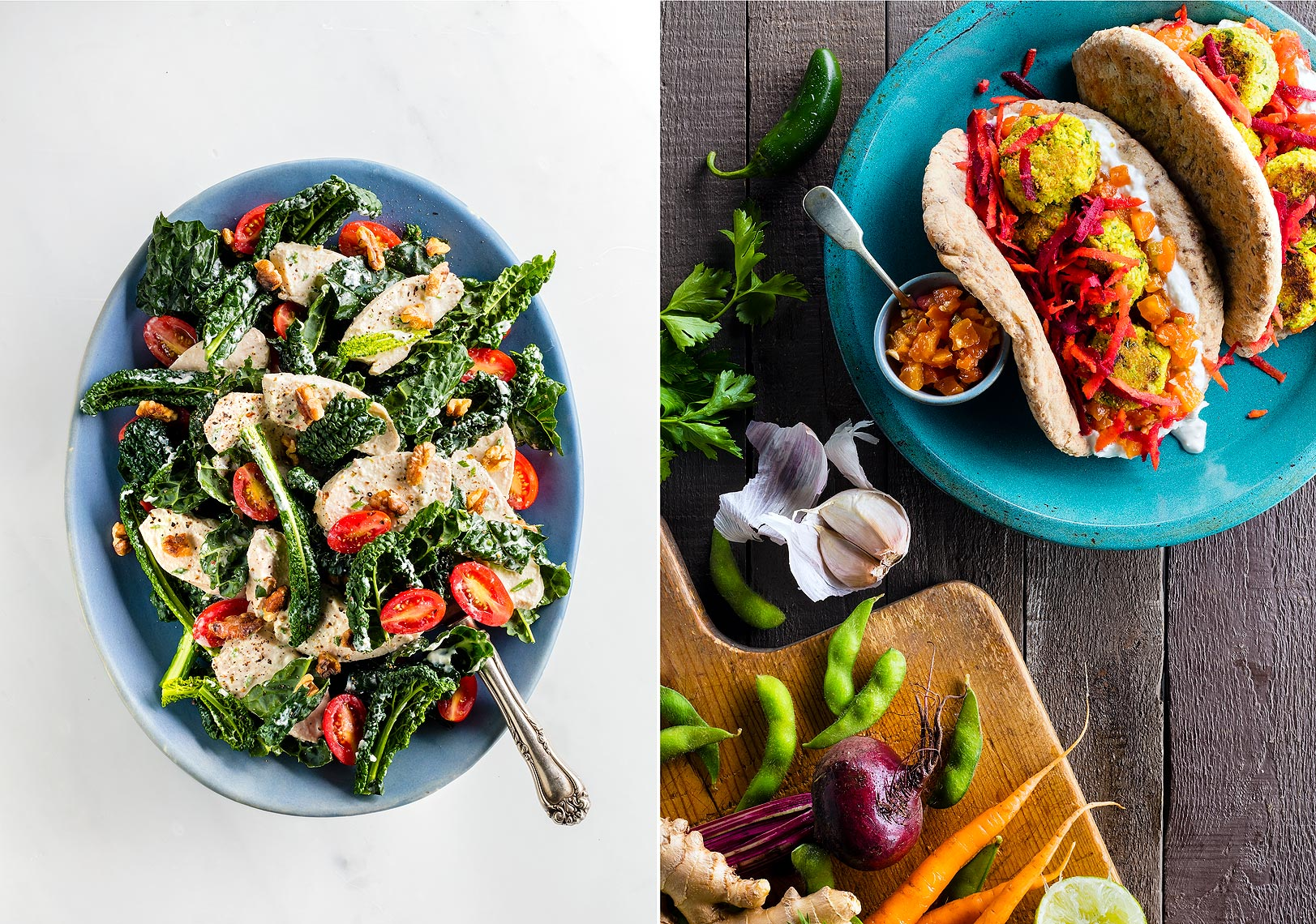 Kale__Chicken_Salad_and_Falafel_with_Papaya_Chutney
