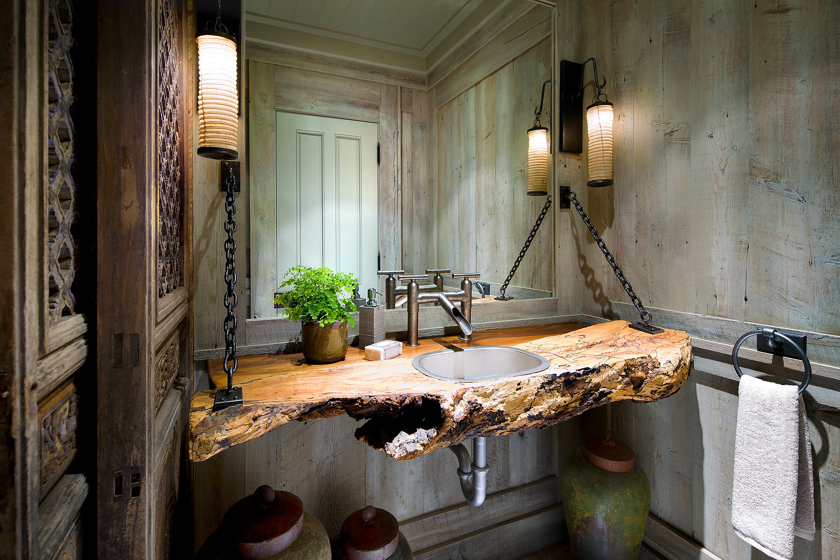 Rustic Industrial Asian Bathroom