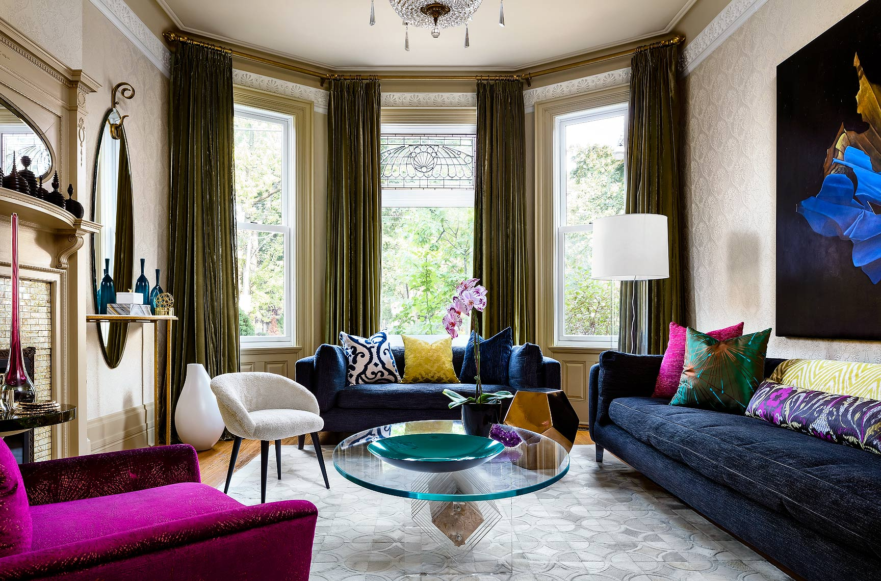 Modern Meets Classic Heritage House living room by TIDG photographed by Brandon Barre