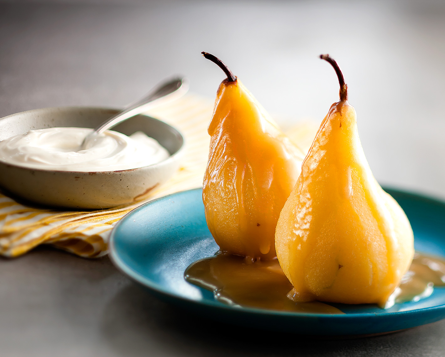Poached Pears with Maple Cream Sauce
