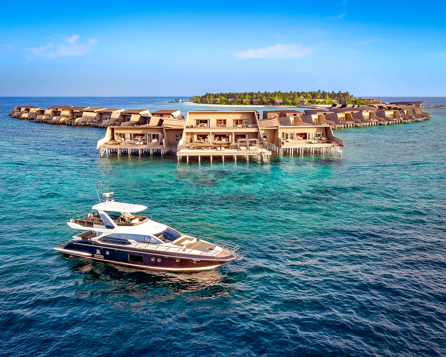 St Regis Resort Hotel, Maldives - Norma Luxury Yacht and overview of property