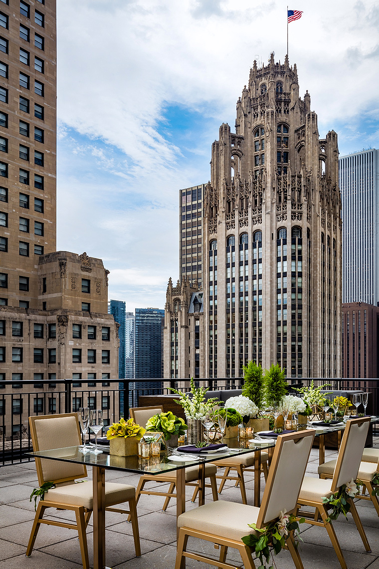 The Gwen Hotel Terrace Suite - Function setup, Chicago - Hotel Photography