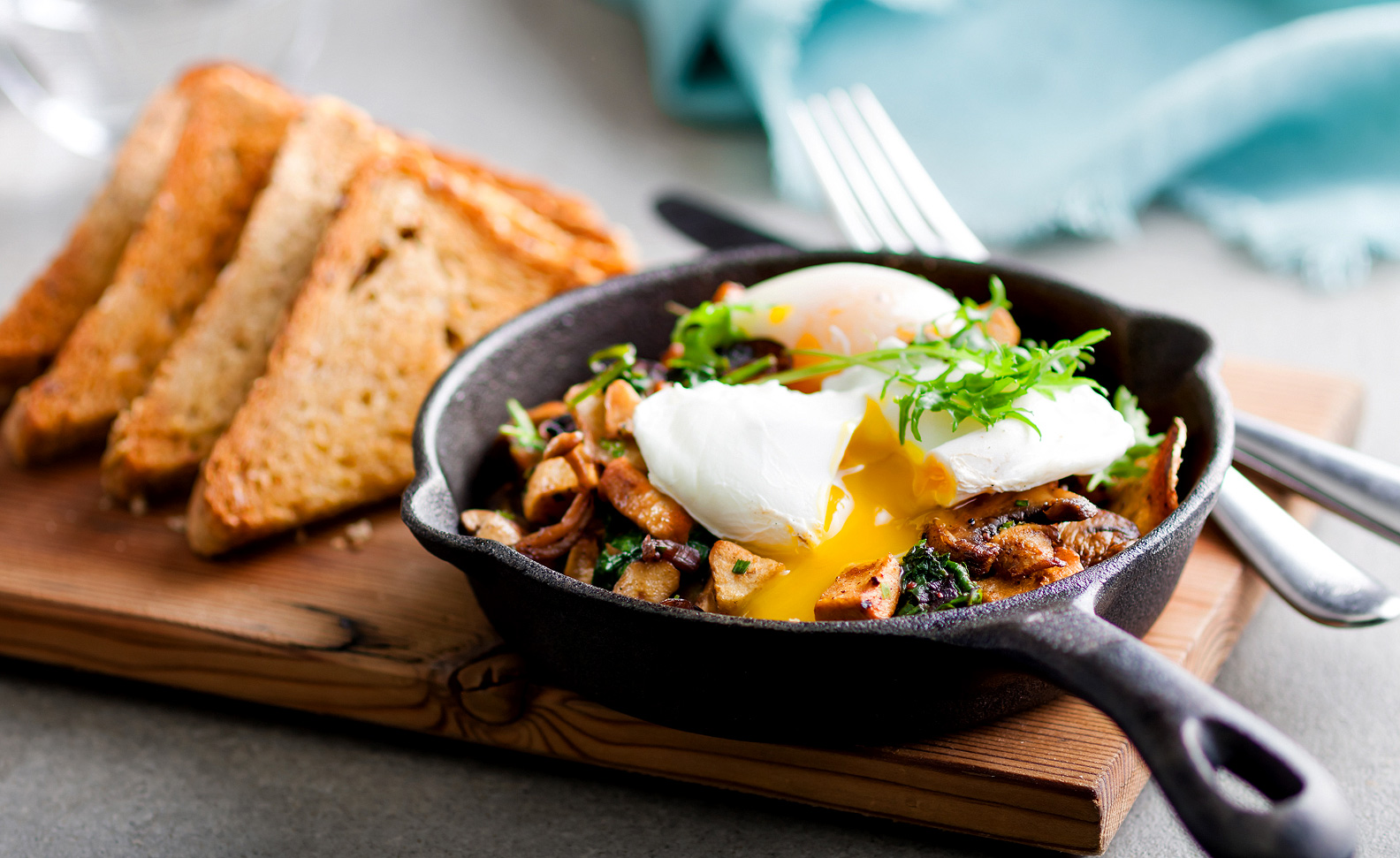 Fairmont Waterfront Hotel Brunch - Wild Mushroom Hash with Poached Eggs